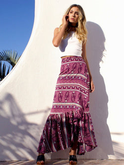Pleated Floral Beach Skirt