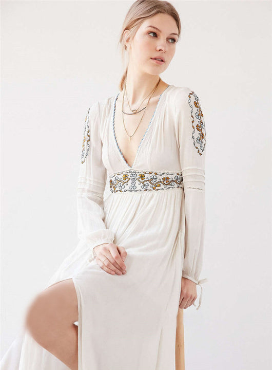 White Embroidery Maxi Dress, Long Sleeve, V-Neck, Lantern Sleeve, Maxi Dress, Long Dress