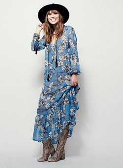 Blue Floral Beach Dress