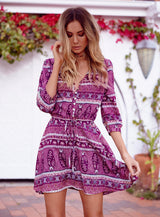 Pink Cherry Beach Dress, V-Neck, Three Quarter Sleeve, Beach Dress, Printed Dress, Above Knee Dress