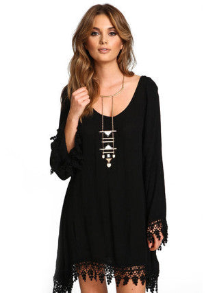 Lace Trim Black Dress, Above Knee Dress, Mini Dress, Flare Sleeve, Long Sleeve, Lace Dress
