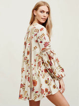 Floral Lantern Sleeves Dress