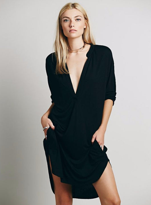 Plunging Neckline Casual Dress, V-Neck, Three Quarter Sleeve, Batwing Sleeve, Loose Dress, Casual Dress