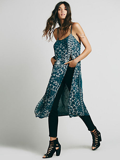 Printed Slit Top, Sleeveless, Spaghetti Strap, O-Neck, Printed Long Top