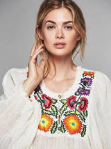 Latern Sleeves Embroidery Dress