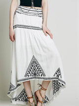 Embroidery Long Beach Skirt, Long Skirt, Beach Skirt, Skirt