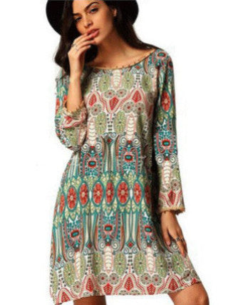 Bohemian Prints Dress, Printed Dress, Above Knee Dress, Mini Dress, Bohemian Dress, Long Sleeve