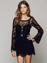 Floral Lace Dress, Flare Sleeve, Mini Dress, Above Knee Dress, O-Neck, Long Sleeve, Lace Dress