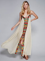 Bohemian Backless Holiday Dress, Bohemian Dress, Backless Dress, V-Neck Dress, Floral Dress, Spaghetti Strap, Sleeveless, Long Dress