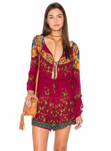 Red Print Bohemian Playsuit, Loose Dress, Floral Dress, Bohemian, Long Sleeve, V-Neck