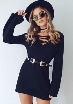 Criss-Cross Black Knit Dress