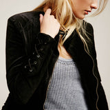 Lace Up Velour Jacket