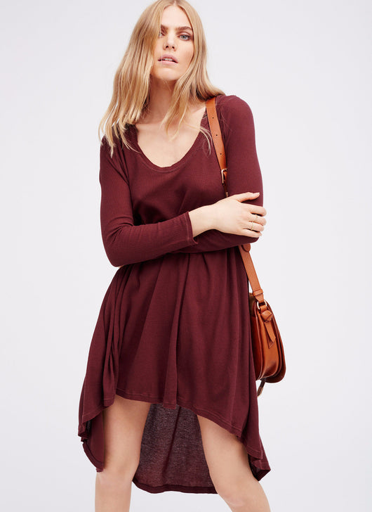 Knit Loose Casual Dress, V-Neck, Long Sleeve, Casual Dress, Above Knee Dress, Dress with Hood