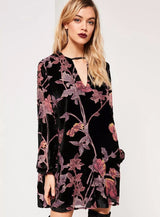 Floral Leaf Vintage Dress, V-Neck, Long Sleeve, Lantern Sleeve, Floral Leaf Dress