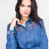 Floral Bohemian Denim Blouse