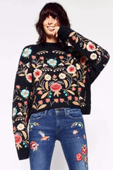 Floral Embroidery Pullover, Round Neck, Long Sleeve, Floral
