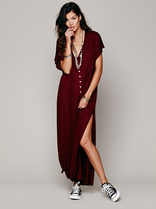 High Slit Maxi Dress, Batwing Sleeve, O-Neck, Loose Dress, Maxi Dress, Long Dress
