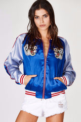Blue Tiger Satin Jacket, Satin Jacket, Jacket, Round Neck