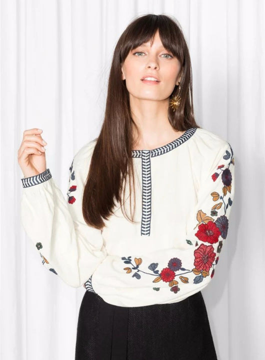 Floral Embroidery Top, O-Neck, Lantern Sleeve, Long Sleeve, Floral