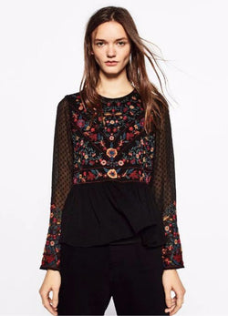Floral Black Elegant Shirt,Long Sleeve, Round Neck, Floral Shirt