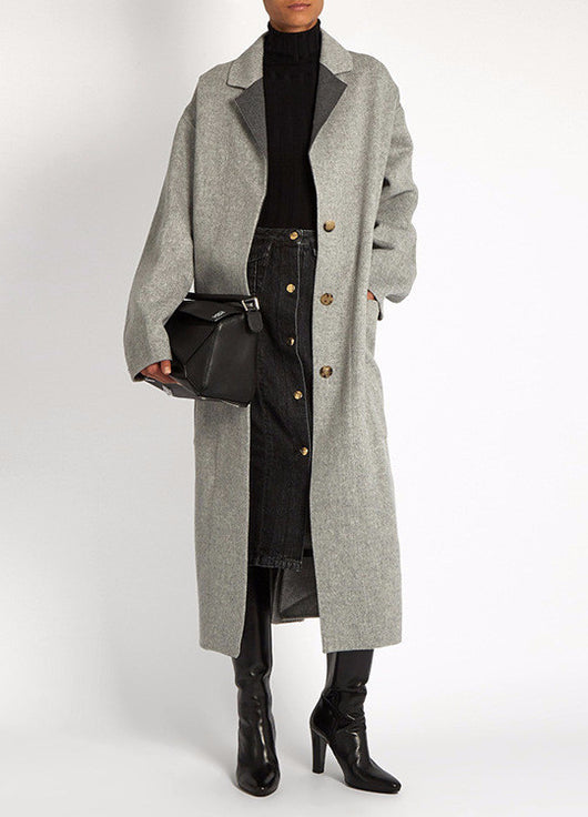 Grey Long Coat, Long Sleeve, Long Coat, Coat