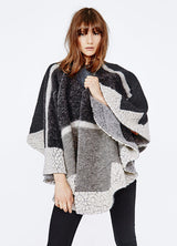 Patchwork Bat-wing Cloak, Long Sleeve, Round Neck, Batwing Sleeve, Cloak