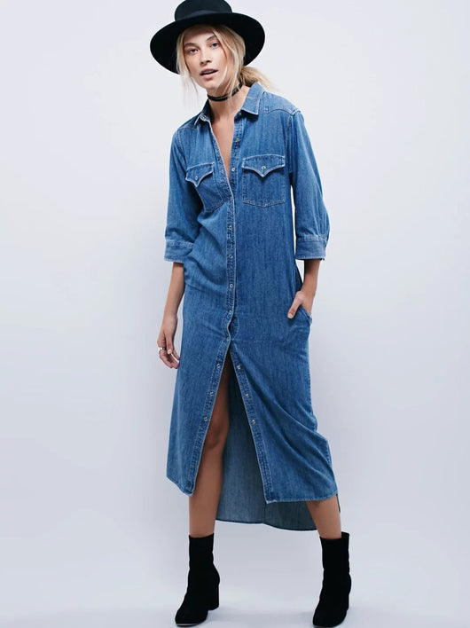 Long Denim Shirt Dress, Three Quarter Sleeve, Long Dress, Denim Shirt Dress