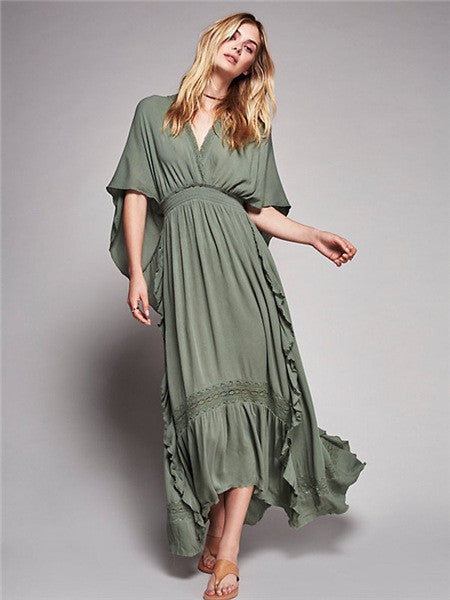 Bohemian Loose Maxi Dress, Maxi Dress, Loose Dress, Bohemian Dress, V-Neck Dress, Batwing Sleeve, Half Sleeve, Long Dress