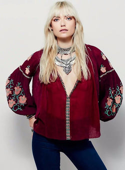 Casual Boho Embroidery Top