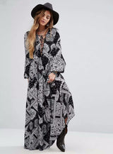 Handkerchief Print Maxi Dress, V-Neck, Lantern Sleeve, Printed Dress, Maxi Dress, Long Sleeve, Long Dress