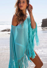 Tassels Sexy Beach Cover-Up, V-Neck, Long Sleeve, Batwing Sleeve, Beach Outwear