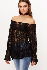 Off Shoulder Lace Top, Long Sleeve, Lace Top, Off the Shoulder, Lace