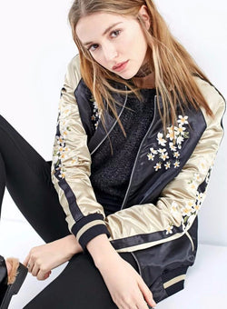 Crane Embroidery Bomber Jacket