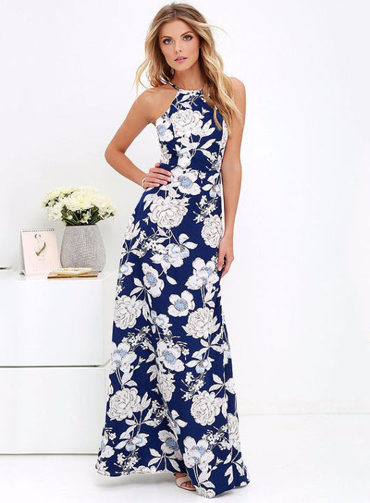 Halter Floral Dress, Sleeveless, Printed Dress, Long Dress, Floral Dress