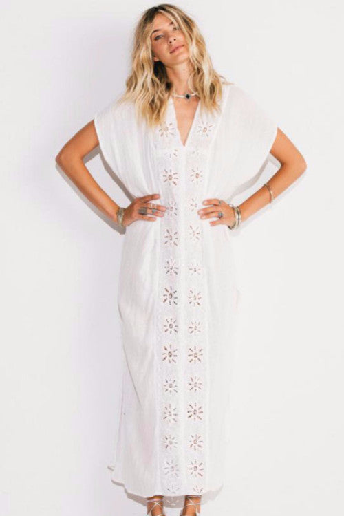 Flower Embroidery Kaftan Dress, V-Neck, Batwing Sleeve, Loose Dress, Long Dress