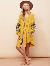 Embroidery Puff Sleeves Dress