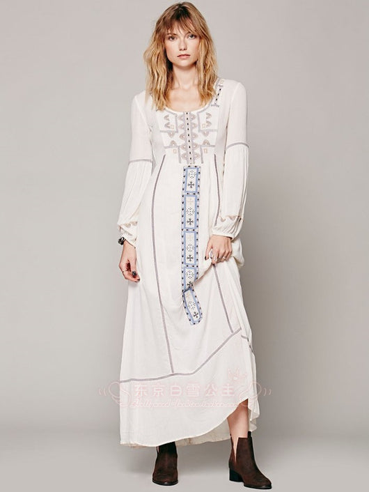 Vintage Embroidery Maxi Dress