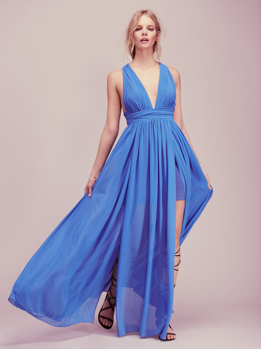 Halter Drape Dress, V-Neck, Long Dress, Backless