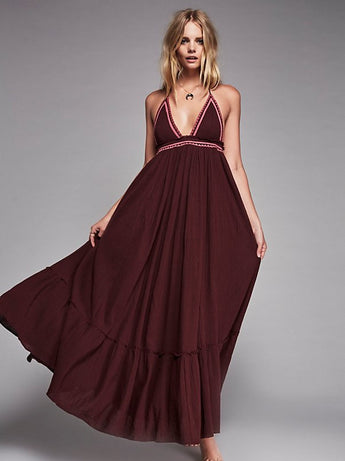 Backless Maxi Holiday Dress