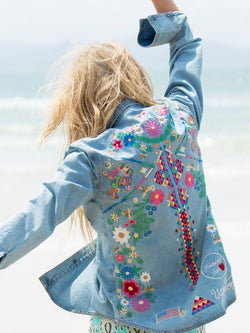 Embriodery Florals Denim Shirt