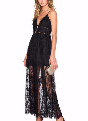 Elegant Black Gauze Dress