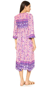 Purple Vase Prints Dress