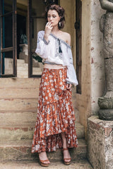 Flower Prints Pleated Skirt