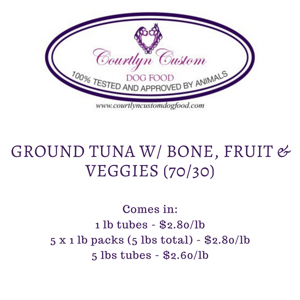 Pre-Order: Ground Tuna w/ Bone, Fruit & Veggies (70/30)