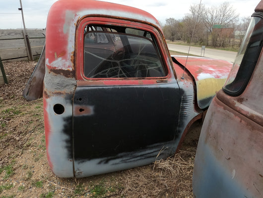 Red, Black, & Yellow Chevy Truck Cab With Hood