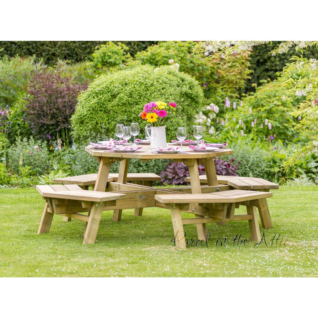 Parcel in the Attic Jaen Octagon Picnic Table Garden Furniture