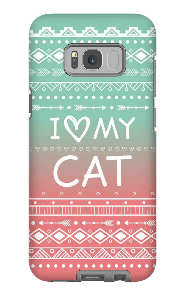 Samsung Galaxy S8 Plus I Love My Cat Phone Case with Tough Rugged Protection