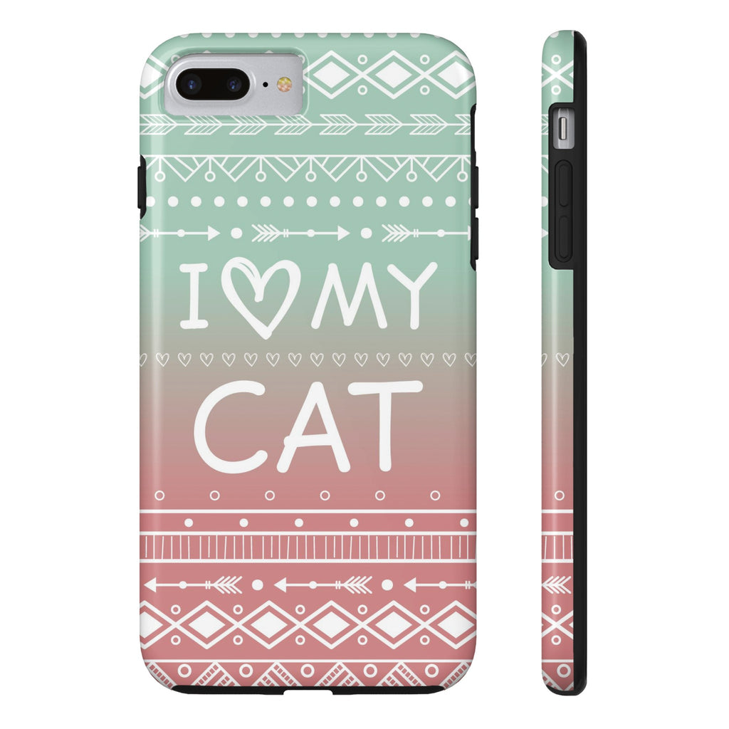 iPhone 7 Plus I Love My Cat Phone Case with Tough Rugged Protection