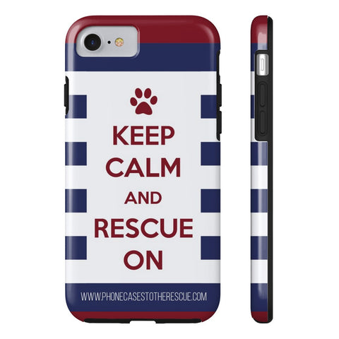 iPhone 7 Keep Calm and Rescue On Patriotic Phone Case with Tough Rugged Protection
