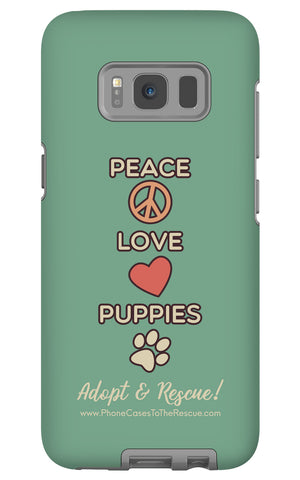 Samsung Galaxy S8 Peace, Love, and Puppies Phone Case with Tough Rugged Protection